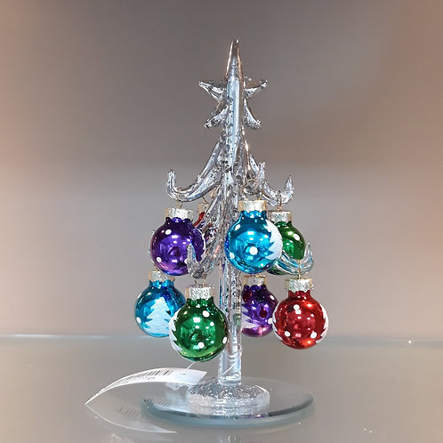 Silver glass Tree with Baubles, small