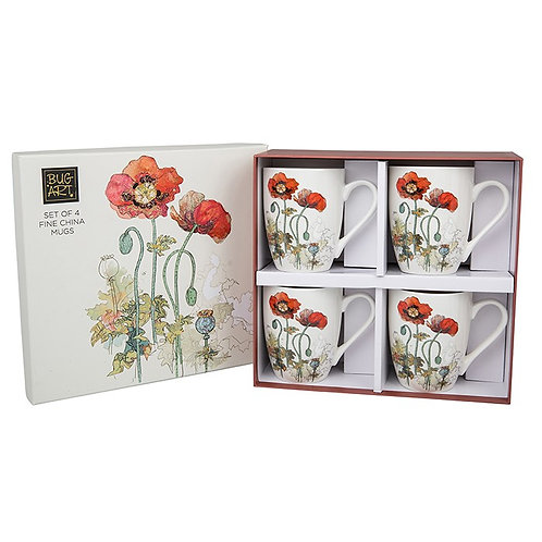Set of 4 Poppy mugs from Bug Art