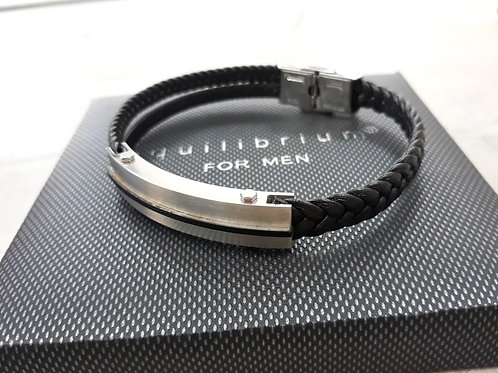Black leather bracelet with front bar