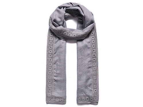Fable Grey Scarf with Granny patched lace edging
