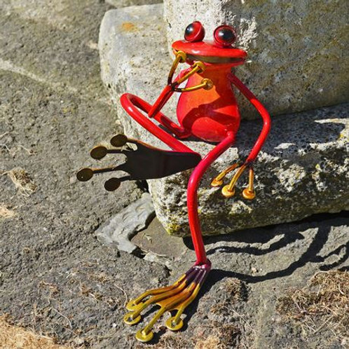 Garden ornament, red sitting frog