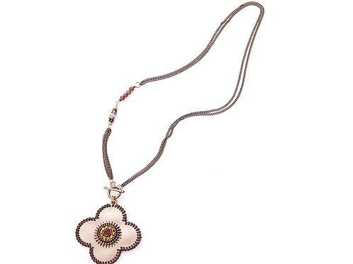 Brown flower beaded pendant