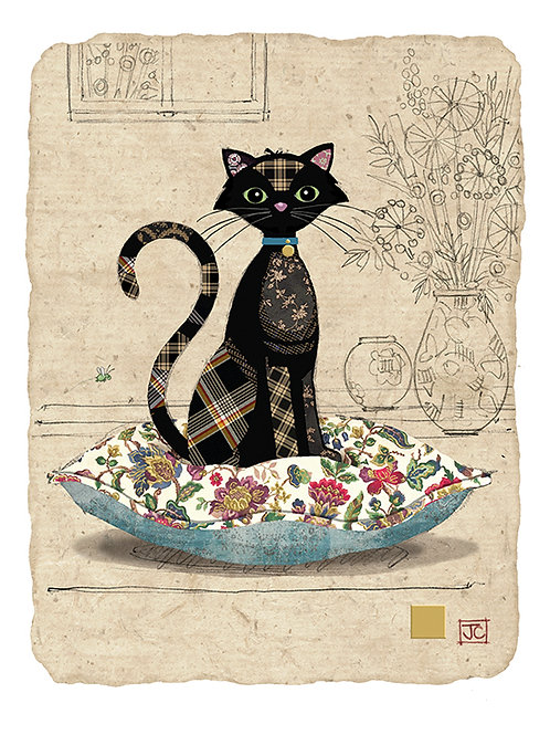 Cat on cushon card