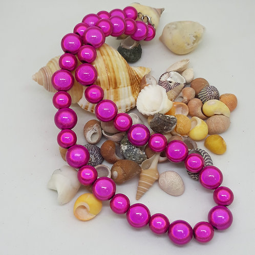 """Hot pink miracle bead necklace 16"""""""