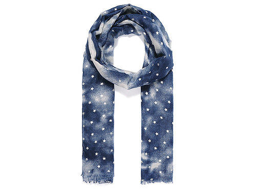 Blue silver metallic star dip dye scarf