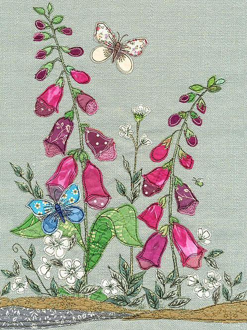 Fox gloves with butterfly card