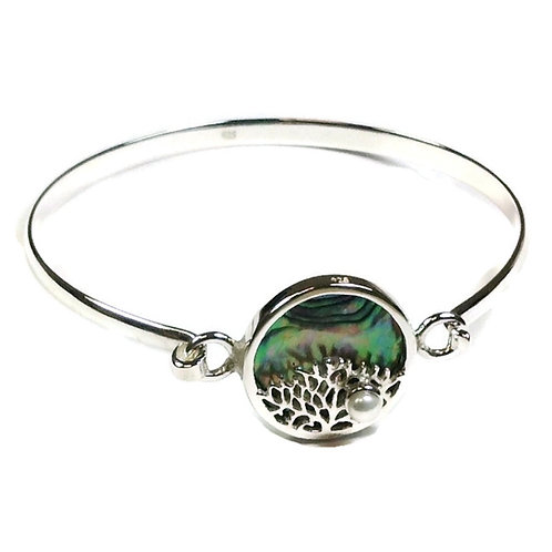 Sterling silver bangle with Abalone and pearl