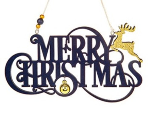 Merry Christmas flock sign,blue