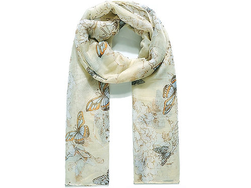 Light yellow butterfly and blossom scarf