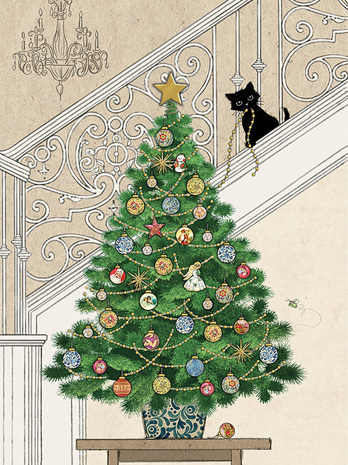 Kitten with tree card