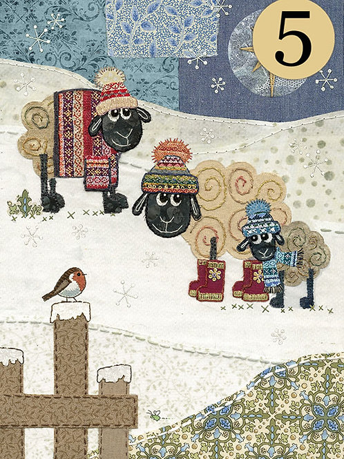 Christmas Sheep with robin, 5 pack