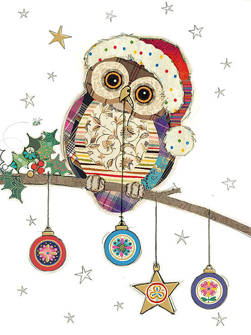 Owl with Baubles Christmas card