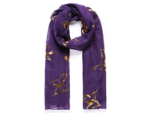 Lilac gold metallic large butterfly printed scarf