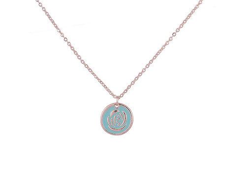 Blue enamel rose pendant