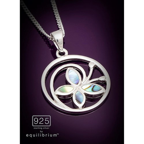 Sterling silver Paua butterfly  necklace