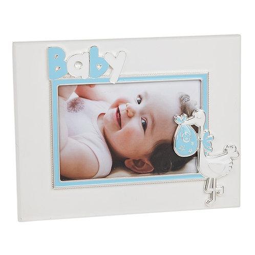 Baby stork frame, blue