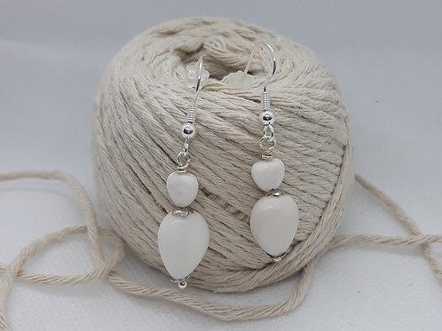 White jade teardrop earrings