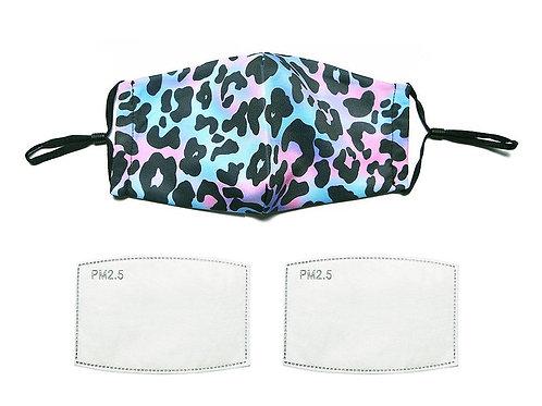 Blue/pink leopard print face mask