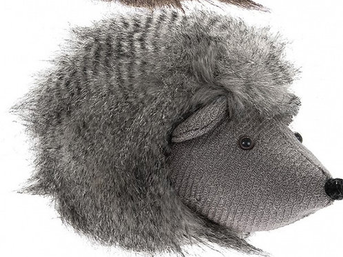 Fluffy grey Hedgehog doorstop