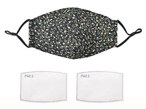 Adult Black ditsy floral face mask with filters