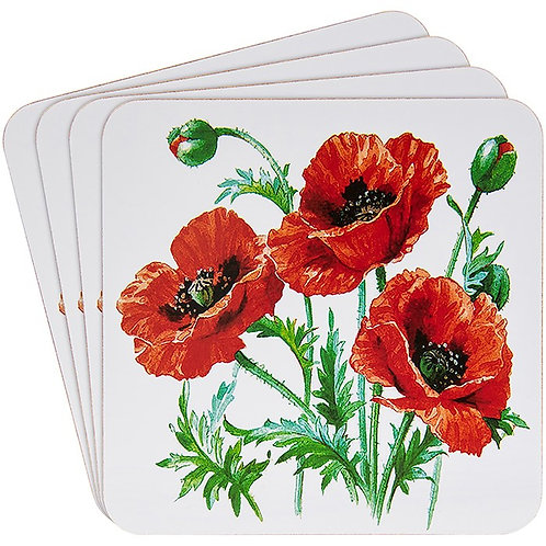 Wild poppy coasters, set of 4