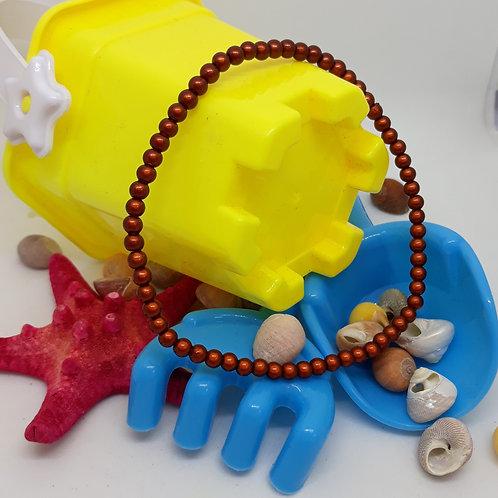 Elasticated brown  miracle bead anklet