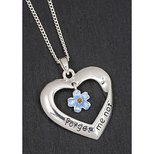 Forget me not heart necklace