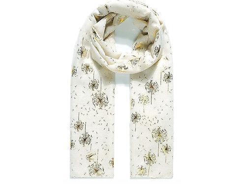 cream scarf with golden dandelions