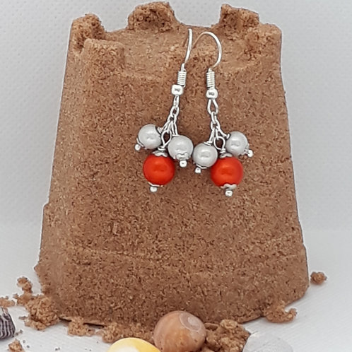 Orange and silver miracle bead drops