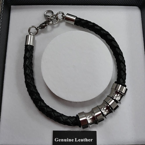 Black leather mans bracelet