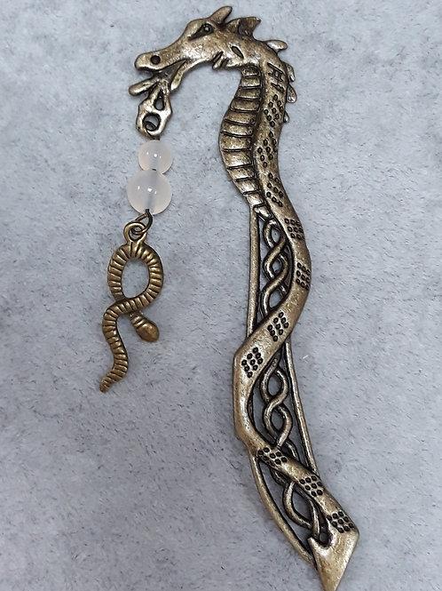 dragon Bookmark with Rose quartz