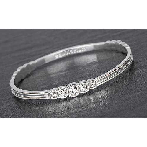 Swirls bangle with white stones