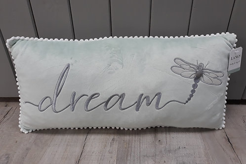 Pale green and grey dragonfly cushion
