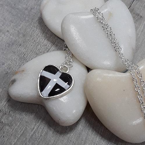 Cornish Flag heart necklace