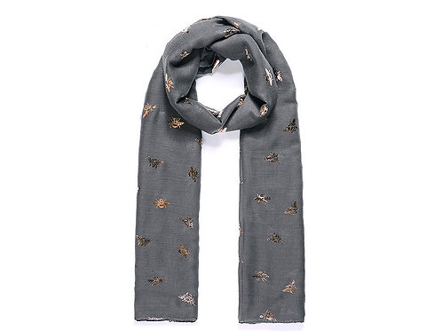 Grey scarf with bees