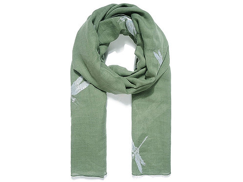 Green dragonfly embroidered scarf