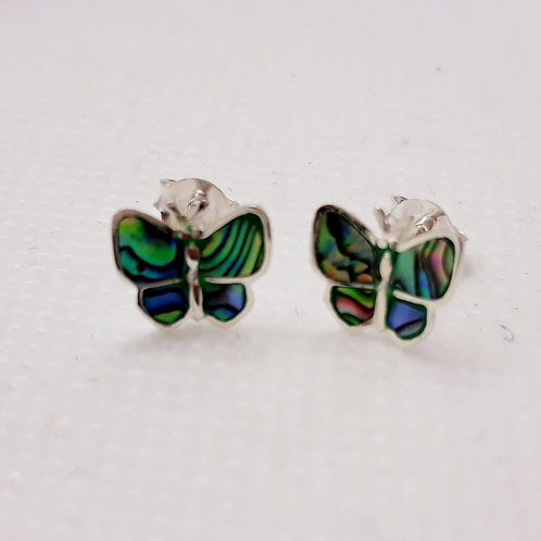 Sterling silver abalone butterfly studs