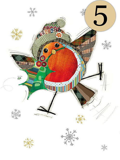 Robin with holly card , 5 pack