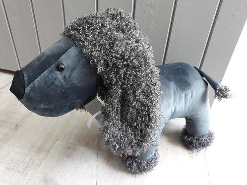 Grey poodle doorstop