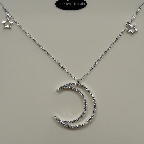 Long length necklace with sparkly crescent