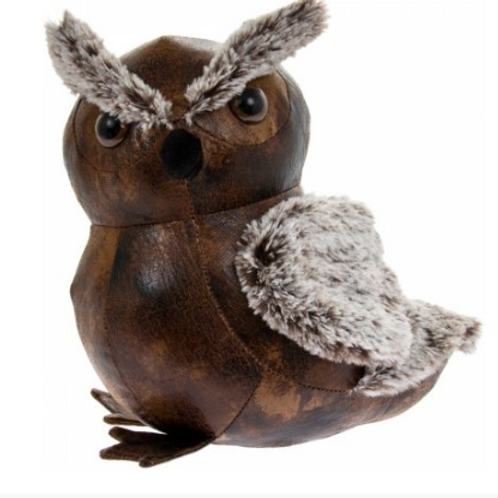 Faux leather Owl doorstop