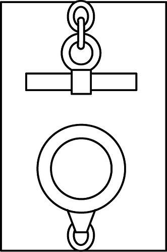 Bracciale con catena a maglia grande e t-bar e piccolo quadrifoglio (in omaggio)