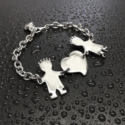Bracciale con catena media, cuore e due bimbi cm.3
