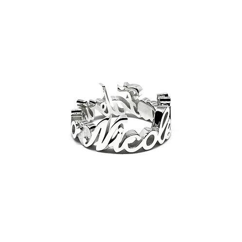 Fedina con nome/i in argento 925 Mod. Medio