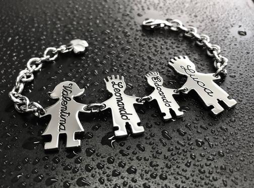 Bracciale con catena media, mamma, bimbo cm.2,5, bimbo cm.2 e Papà