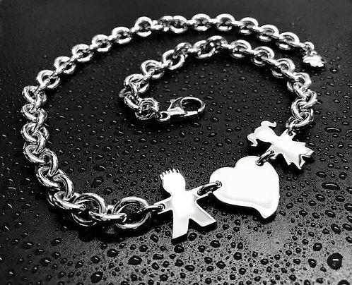 Collana con catena grossa, cuore e due bimbi mod. square