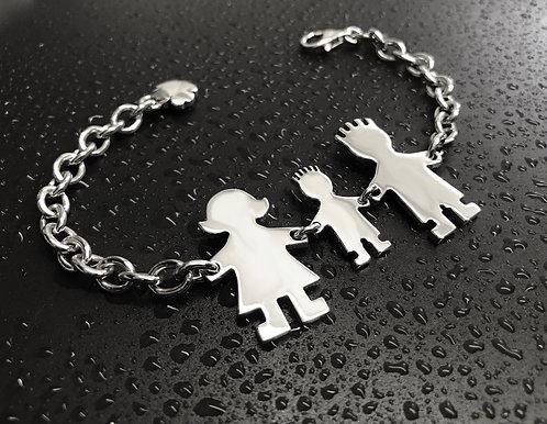 Bracciale con catena media, mamma, papà e bimbo cm.2