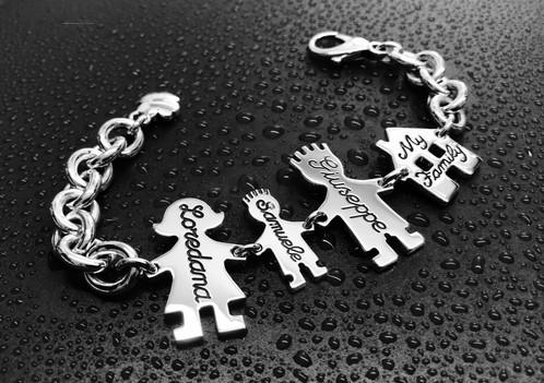 Bracciale catena grossa, mamma, papà, bimbo cm.2 e casetta