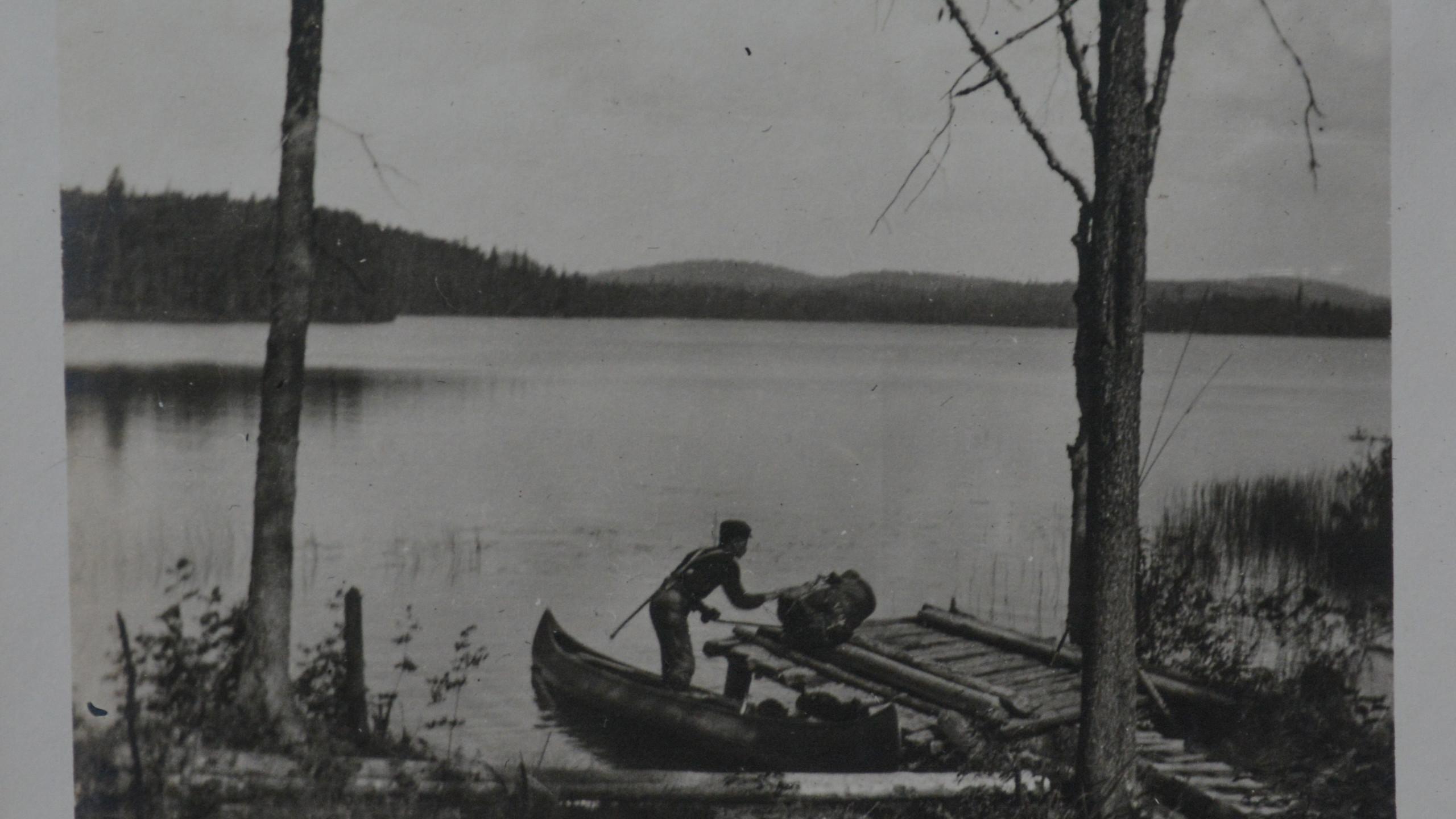 Unloading the canoe.