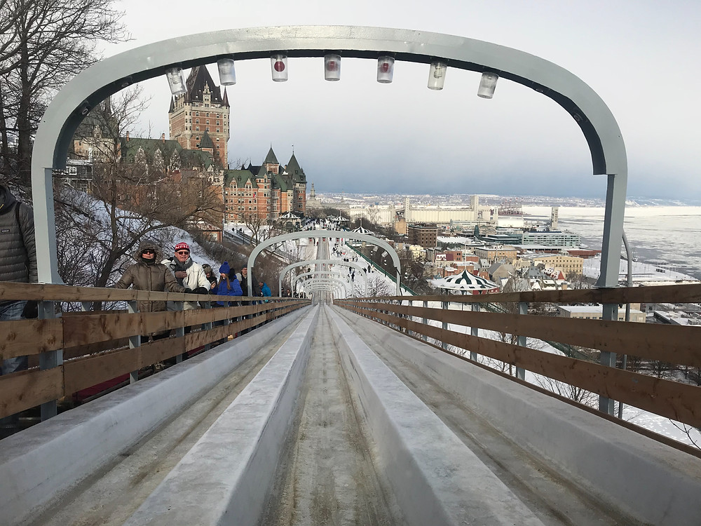 At the top of Le Glissade toboggan run near Chateau Frontenac high above the St. Lawrence River